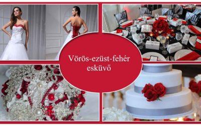 Vörös-ezüst-fehér esküvő